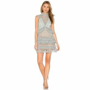 Self-Portrait Teardrop Guipure Lace Paneled Dress